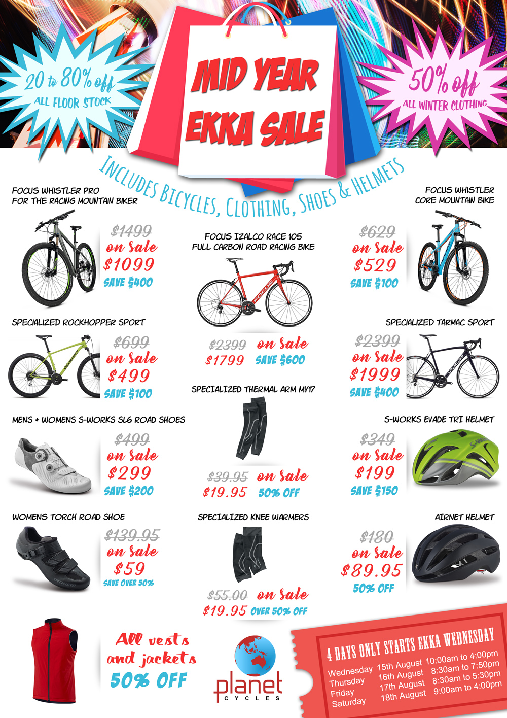 Mid Year Ekka Sale, 4 days only starting Wednesday 15th August